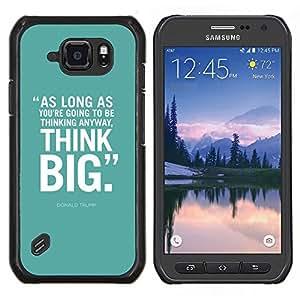 EJOOY---Cubierta de la caja de protección para la piel dura ** Samsung Galaxy S6Active Active G890A ** --verde menta pensar en grande cartel de texto inspirador