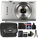 Canon Ixus 185/Elph 180 20MP Digital Camera 8x Optical Zoom Silver with 16GB Accessory Kit