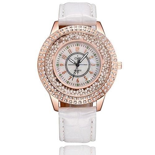 Wrist Watch for Women, Paymenow Women Bead Rhinestone Watch Female Crystal Fashion Stainless Steel Quartz Analog Watch (C)