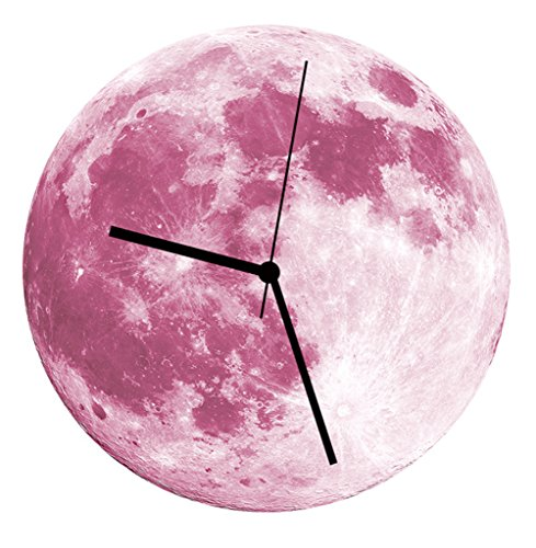 Yvettevans Classic Moon Pendulum Night Glowing Wall Clock Home Ornament Decor (Pink Moon)