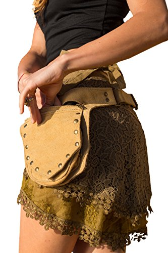 Tree Climbers Fanny Pack - Pocket Belt Recycled Leather Single Fanny Pack Adjustable Hip Bag Pocket Belt (SAND) by AryaClothing