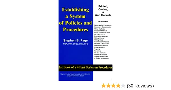 Amazon com: Establishing a System of Policies and Procedures