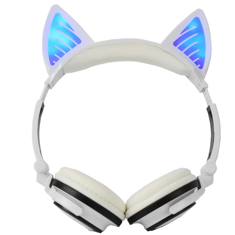 Cat Headphones for Kids, Headset Wireless Bluetooth Earpiece LED Light Foldable Chargeable Over-Ear (White) LIMSON LX-BT107W