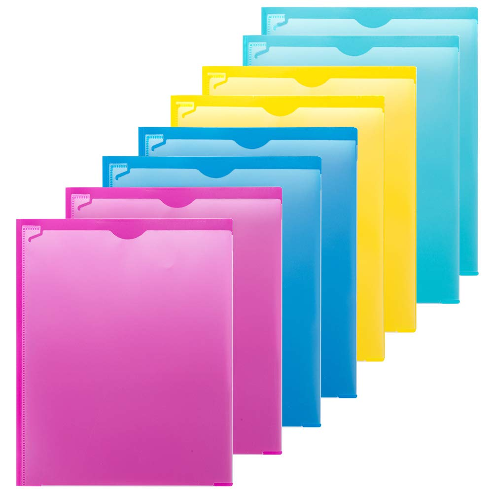 MAKHISTORY Plastic 2 Pocket Folders with Clear Front Pocket - 8 Pack, Heavy Duty 3 Prong Folders for Letter Size Paper, Assorted Colors by MAKHISTORY
