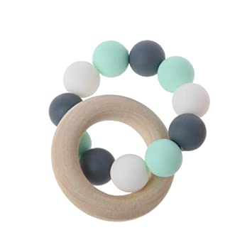 Baby Bracelet Rattle Teether Silicone Beads Bangles Teething Pacifier Chew Toys