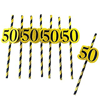 50th birthday decorations paper straws - striped decorative straws, black gold theme 50th birthday party supplies. 50th birthday party favors for men. Set of 24