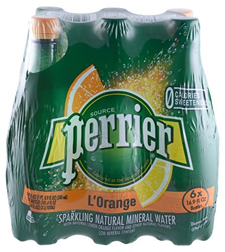 Perrier L'Orange Sparkling Natural Mineral Water (Lemon Orange) - 16.9 oz 6pk bottles
