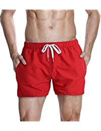 HEMOON Men's Plain Elasticated Waistband Swimming Shorts