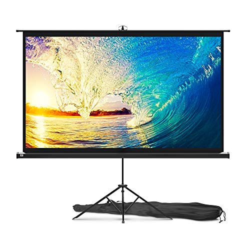 (Projector Screen with Stand 84 inch - Indoor and Outdoor Projection Screen for Movie or Office Presentation - 16:9 HD Premium Wrinkle-Free Tripod Screen for Projector with Carry Bag and Tight Straps)