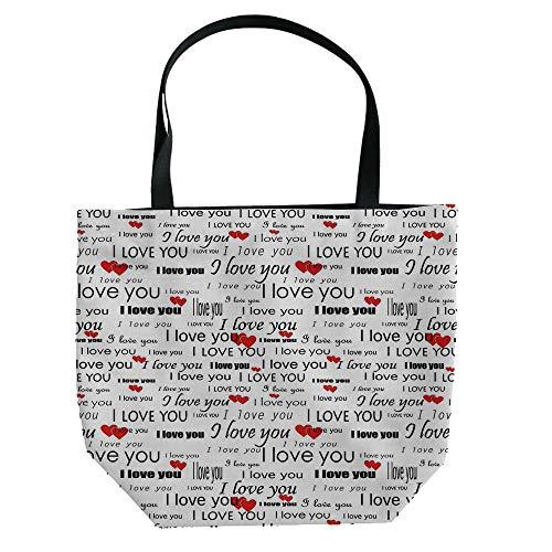 iPrint Handbag Canvas Shoulder Bag Modern Stylish,Romantic,I Love You Themed Winged Hearts Locks Partners Valentines Ribbons Illustration,Black White,Personalized Customization. (Heart Winged Handbag)