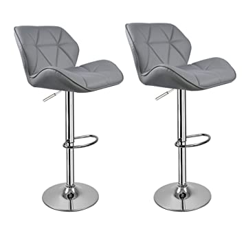18a7e086a410 Grey Breakfast Bar Stools with backs Hollylife 2 x Modern Kitchen Breakfast  Bar Stools Faux Leather