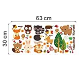 Woodland Animal Cherry Christmas Wall Stickers Home Decorations Bear Tree Flower Removable Vinyl Wall Decals Happy New Year^multi.