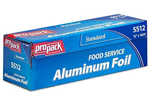- Propack Standard Food Service Aluminum Foil Roll 12'' Width x 1000' Length