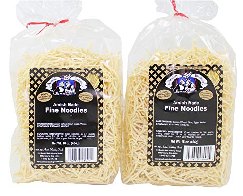 Amish Wedding Fine Egg Noodles Bags, 16 Ounce (Pack of 2)
