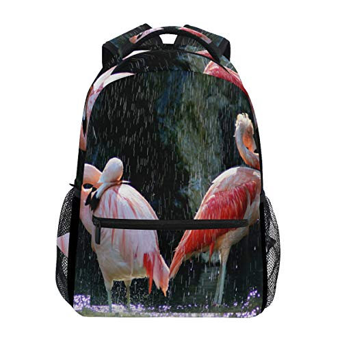 Canvas Special Flamingos Birds Having Shower College Bookbag Travel Rucksack Gym Bag For Youth