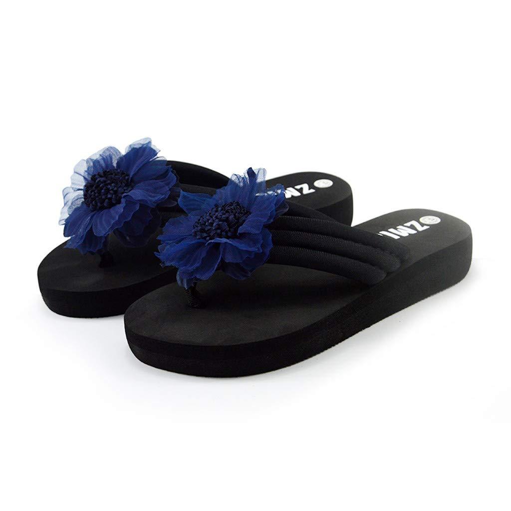Garish Women's Casual Summer Handmade Flowers Letter Print Beach Shoes Sandals Flip Flops Slippers Navy