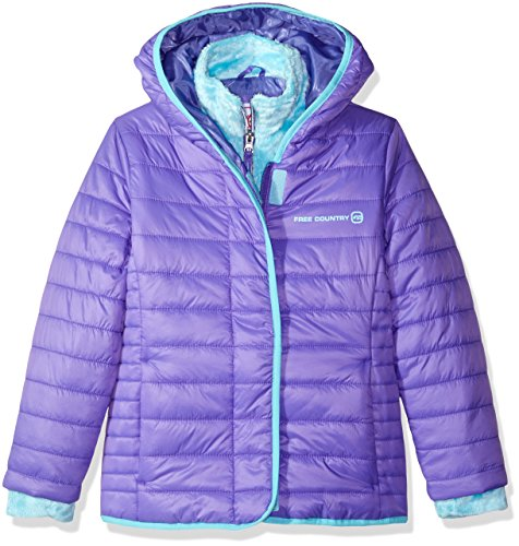 Free Country Big Girls' Quilted Cire Bib Jacket, Ultra Violet, M(10/12) by Free Country
