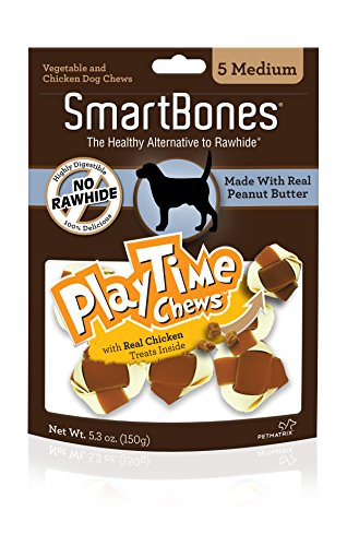 SmartBones PlayTime Chews for Dogs With Real Chicken Treats Inside (Snaps Butter Peanut Treat)