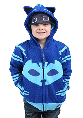 [PJ MASKS Little Boys' Toddler Catboy Hoodie, Blue, 3T] (Pj Mask Costume)