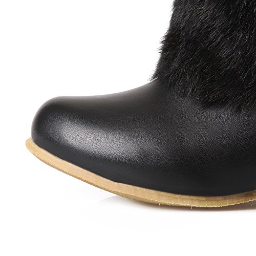 Low Women's Solid Heels Closed top Black Allhqfashion Toe Boots Round Low Material Soft SfwIKdq
