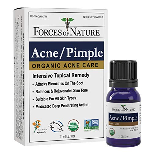 Forces of Nature - Natural, Organic Acne Skin Care Treatment (11ml) Non GMO, No Harmful Chemicals, Cruelty Free - Fight Acne, Clear Skin, Balance Skin Tone