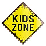 Cheap KIDS ZONE Rustic Diamond Sign Chic Vintage Retro 12″x 12″ Metal Plate Store Home man cave Decor Funny Gift
