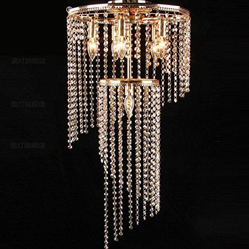 (YXGH Pendant Lights- Continental Iron Art Circular Chandelier Amber Crystal Light Living Room Restaurant Stairs Bar Counter Light Fixture E14 (40H65cm))