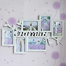 Photo Wall Combination Photo Frame Family Letter Injection Siamese Picture Frame Wall 7 inch 6 inch 61 * 39 cm (Color : White)