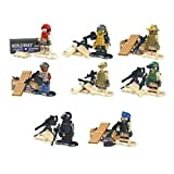 SWAT police Armed soldiers mini figure S.W.A.T ARMED world war Minifigures Building Bricks Blocks 8pcs/set including weapons Compatible With L-e-g-o
