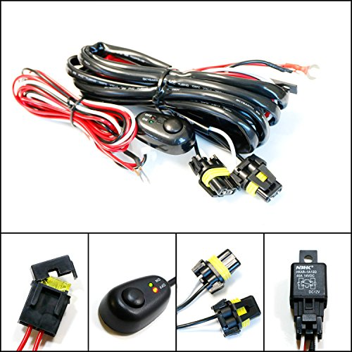 Driving Light Kits - iJDMTOY (1) 9005 9006 H10 Relay Harness Wire Kit with LED Light ON/OFF Switch For Aftermarket Fog Lights, Driving Lights, HID Conversion Kit, LED Work Lamp, etc