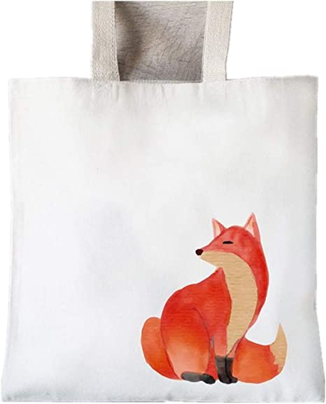 Whimsical FoxTote Bag Heavyweight Reusable grocery or market tote Fox and Flowers art print tote Go Green sustainable art. Natural