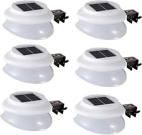 6X Luces Solares Jardín Blanco cálido,9 led solar luz 100lm para terraza, para Patio,Garaje, Ca...