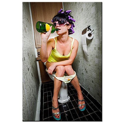 Sea Charm - Fashion Toilet Sexy Woman Canvas Print Modern Bar Girl Smoking and Drinking in Restroom Painting Picture Poster Framed for Bedroom Hotel Wall Decoration -24x36inches (girl-2)