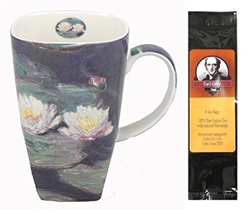 (Claude Monet Water Lilies Grande Coffee Mug, Matching Gift Box and 1 Package of 6 Tea Bags, Bundle 2 Items)