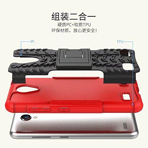 YHUISEN ZTE A520 Funda, Hyun Patrón de doble capa de armadura híbrida Kickstand 2 en 1 Funda de caja a prueba de choque para ZTE Blade A520 ( Color : Black ) Pink