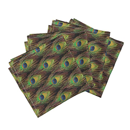 Roostery Peacock Organic Sateen Dinner Napkins Peacock Feathers -Single - Diamonds by Bonnie Phantasm Set of 4 Cotton Dinner Napkins Made ()