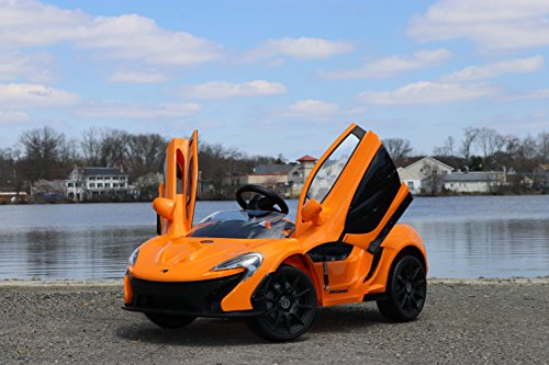 - First Drive Mclaren P1 Orange 12v Kids Cars - Dual Motor Electric Power Ride On Car with Remote, MP3, Aux Cord, Led Headlights, and Premium Wheels