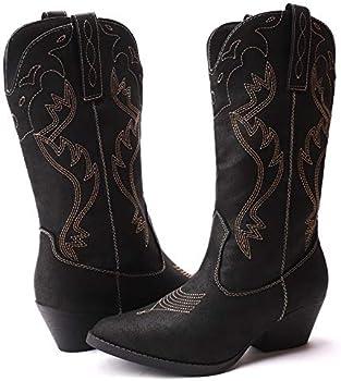 CINAK Western Women Classic Cowboy Winter Mid-Calf Booties