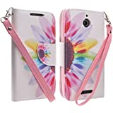 HTC Desire 510 Case, Defender Bling Hybrid Gel Protector Diamond Hybrid, Protective Cover (Wallet Pouch Sun Flower)