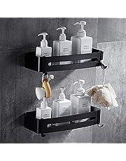 Liesun 2 stuks doucheplanken zonder boren met 2 haken, doucheplank badkamer plank voor badkamer, ruimte aluminium, matte afwerking, badkamerrek, (zwart, rechthoekig)