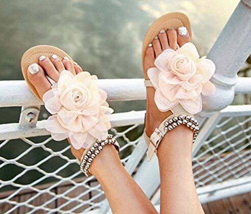 Kvinnor Sandaler Profilering Blommor Skor Plattformar Sommar Flats Sandaler Beige