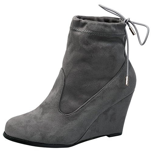 Feet First Fashion Anya Womens High Wedge Heel Tie Top Pull On Ankle Boots Grey Faux Suede rbXN34