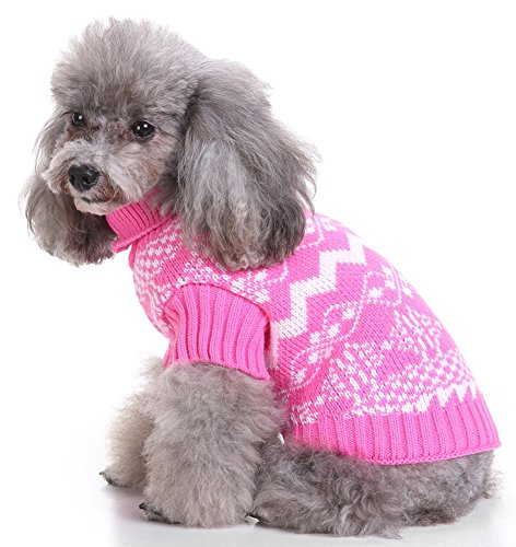 MaruPet Christmas Dog Ribbed Knit Sweater Knitwear Turtleneck Snowflake Kintted Doggie Halloween Hoodies Apparel for Teddy, Pug, Chihuahua, Shih Tzu, Yorkshire Terriers, Papillon G-Pink XL