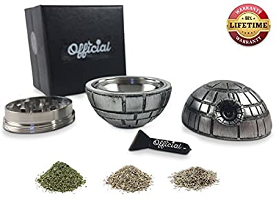 Death Star Grinder With BONUS Kief Scraper - Star Wars Gifts - Herb Grinder Spice & Tobacco Tool With Pollen Catcher - Weed Accessories - 3 Part Grinder, 2.2 Inches, By Official
