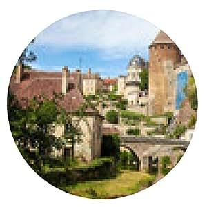 alfombrilla de ratón Hermosa ciudad de Semur-en-Auxois, Borgoña, Francia - ronda - 20cm