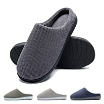 FLY HAWK Mens Cozy Knitted Cotton Slippers Anti-Skid Memory Foam Indoor/Outdoor Shoes