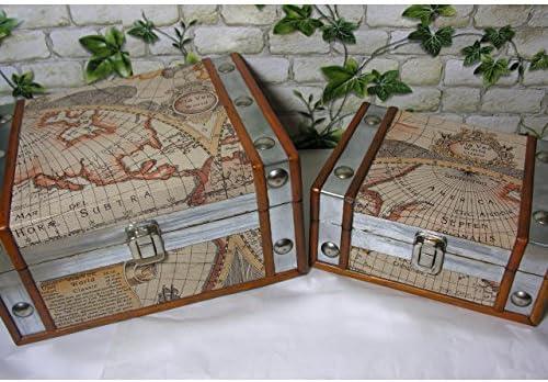 Juego de 2 – Caja de almacenaje Atlas Mapa del Mundo Joyero Buzón Caja decorativa baúl Madera Piel Antiguo: Amazon.es: Jardín