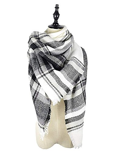 Century Star Womens Stylish Warm Tassels Soft Plaid Tartan Scarf Winter Large Blanket Wrap Shawl Black White