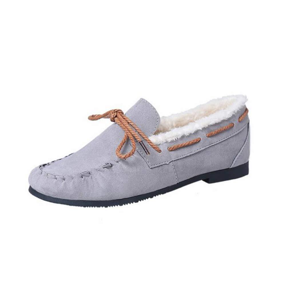Femmes Casual Flat Gris Slip De on Hiver Chaud Plat Femmes Sandales en Caoutchouc Rond Bowtie Pea Chaussures De Bateau Gris d2813e5 - latesttechnology.space