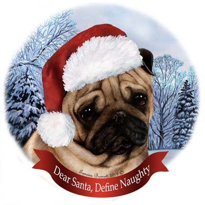 celain Hanging Howliday Ornament (Pug) (Pug Dog Christmas Tree Ornament)